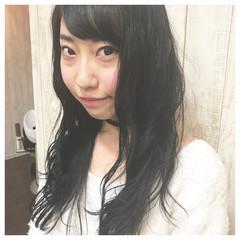 大人女子 黒髪 小顔 セミロング ヘアスタイルや髪型の写真・画像
