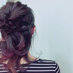 ヘアアレンジ パープル ストリート ツートン ヘアスタイルや髪型の写真・画像