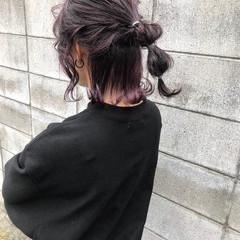 インナーカラー インナーカラーパープル 紫 ガーリー ヘアスタイルや髪型の写真・画像