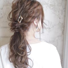 ヘアアレンジ ガーリー 暗髪 ハーフアップ ヘアスタイルや髪型の写真・画像