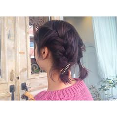 ヘアアレンジ ピンク ストリート レッド ヘアスタイルや髪型の写真・画像