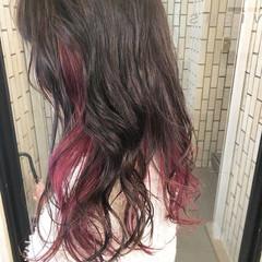 インナーカラーパープル インナーカラー ガーリー グレージュ ヘアスタイルや髪型の写真・画像