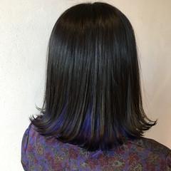 モード インナーカラー コリアンネイビー ボブ ヘアスタイルや髪型の写真・画像
