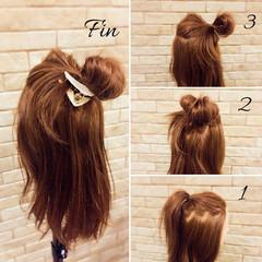 ヘアアレンジ 三角クリップ 簡単ヘアアレンジ ミディアム ヘアスタイルや髪型の写真・画像