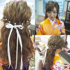 ヘアアレンジ ハーフアップ ゆるふわ 袴 ヘアスタイルや髪型の写真・画像
