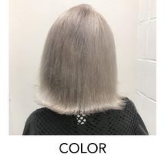 ボブ ホワイトブリーチ ブリーチオンカラー モード ヘアスタイルや髪型の写真・画像