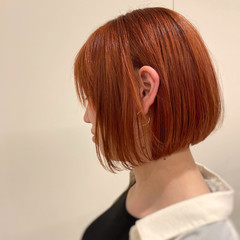 ハイトーン ガーリー オレンジカラー ボブ ヘアスタイルや髪型の写真・画像