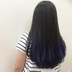 ストレート グラデーションカラー ネイビー ロング ヘアスタイルや髪型の写真・画像