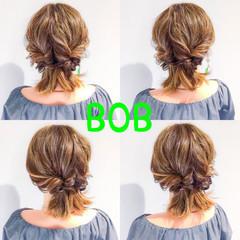 簡単ヘアアレンジ ヘアアレンジ 結婚式 ボブ ヘアスタイルや髪型の写真・画像