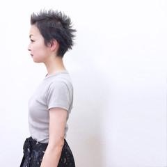 ストリート ショート ベリーショート ウェットヘア ヘアスタイルや髪型の写真・画像