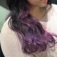 ストリート グラデーションカラー ピンク バイオレット ヘアスタイルや髪型の写真・画像