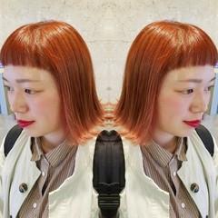 フェミニン 外ハネ ボブ ダブルカラー ヘアスタイルや髪型の写真・画像