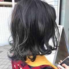暗髪 ウェーブ ブルージュ ブルー ヘアスタイルや髪型の写真・画像