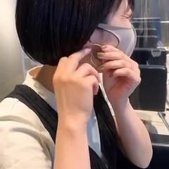大人かわいい ミニボブ ナチュラル 暗髪 ヘアスタイルや髪型の写真・画像