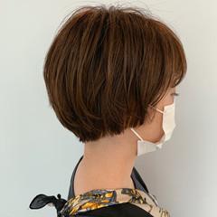 ナチュラル ショート オレンジカラー マッシュショート ヘアスタイルや髪型の写真・画像