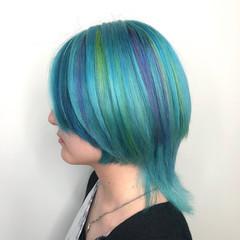 ウルフカット ブリーチオンカラー ハイトーン 個性的 ヘアスタイルや髪型の写真・画像