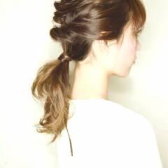 三つ編み グラデーションカラー セミロング ストリート ヘアスタイルや髪型の写真・画像