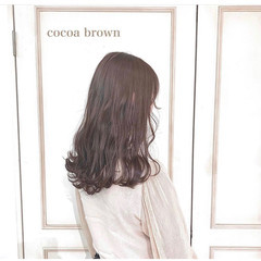 セミロング ピンクブラウン 透明感 モテ髪 ヘアスタイルや髪型の写真・画像