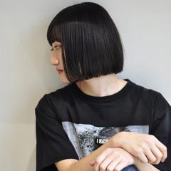 ボブ 暗髪 黒髪 グラデーションカラー ヘアスタイルや髪型の写真・画像