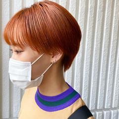 ショートマッシュ ハイトーンカラー ショート オレンジベージュ ヘアスタイルや髪型の写真・画像