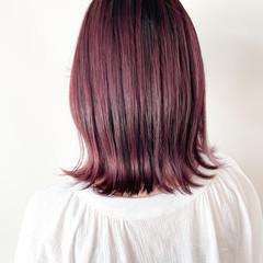 ラズベリーピンク ボブ ラベンダーピンク ピンクバイオレット ヘアスタイルや髪型の写真・画像