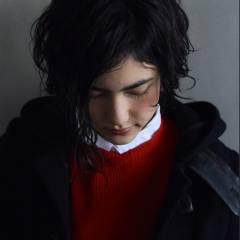 パーマ ショート 黒髪 アッシュ ヘアスタイルや髪型の写真・画像