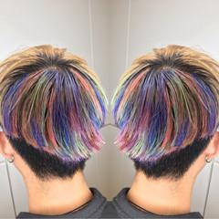 個性的 アウトドア ハイライト インナーカラー ヘアスタイルや髪型の写真・画像