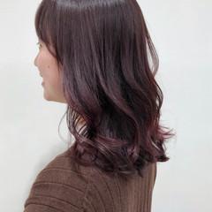 ナチュラル ラズベリーピンク 韓国 ピンク ヘアスタイルや髪型の写真・画像