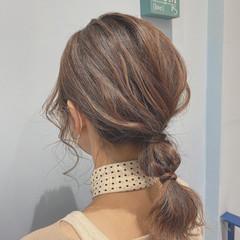 ローポニー ベージュ ヘアアレンジ 簡単ヘアアレンジ ヘアスタイルや髪型の写真・画像