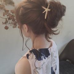 夏 簡単ヘアアレンジ ヘアアレンジ セミロング ヘアスタイルや髪型の写真・画像