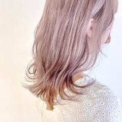 ラベンダーピンク ラベンダー ラベンダーカラー ピンクベージュ ヘアスタイルや髪型の写真・画像