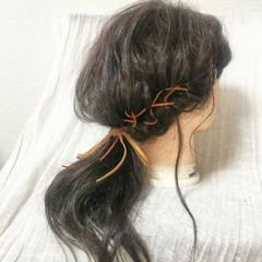ナチュラル 編み込み ゆるふわ セミロング ヘアスタイルや髪型の写真・画像