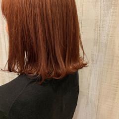 ボブ 切りっぱなしボブ オレンジカラー 外ハネボブ ヘアスタイルや髪型の写真・画像