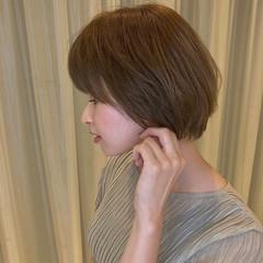 外国人風カラー ブラウンベージュ ボブ 透明感カラー ヘアスタイルや髪型の写真・画像