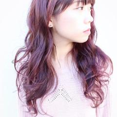 ロング ダブルカラー ガーリー パープル ヘアスタイルや髪型の写真・画像