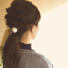 ヘアアレンジ ハーフアップ 簡単ヘアアレンジ セミロング ヘアスタイルや髪型の写真・画像