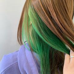 インナーカラー 透明感 ミディアム ベージュ ヘアスタイルや髪型の写真・画像