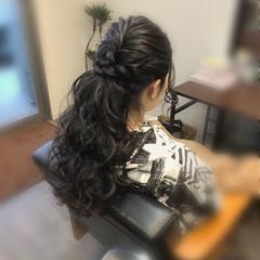 ヘアアレンジ ポニーテール ヘアセット フェミニン ヘアスタイルや髪型の写真・画像