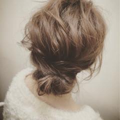 セミロング フェミニン ヘアアレンジ 大人かわいい ヘアスタイルや髪型の写真・画像