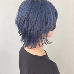 ハイトーンカラー ブルーアッシュ ストリート ウルフカット ヘアスタイルや髪型の写真・画像