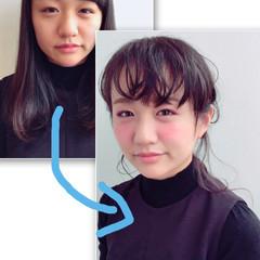 黒髪 ショート セミロング 簡単ヘアアレンジ ヘアスタイルや髪型の写真・画像