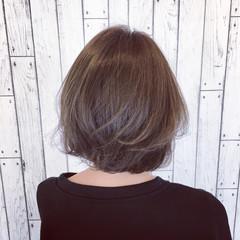 モード ハイライト ボブ グレージュ ヘアスタイルや髪型の写真・画像