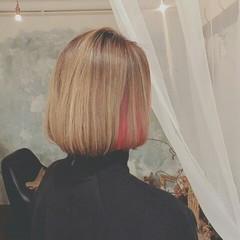 春 ハイライト インナーカラー ミディアム ヘアスタイルや髪型の写真・画像