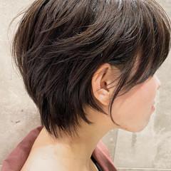 小顔 パーマ ショート ショートボブ ヘアスタイルや髪型の写真・画像