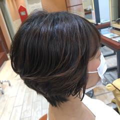ショートボブ ショート デジタルパーマ 前髪パーマ ヘアスタイルや髪型の写真・画像