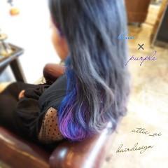 モード ロング パープル ブルー ヘアスタイルや髪型の写真・画像