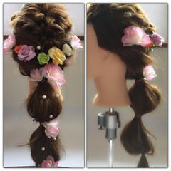 くるりんぱ ねじり ロング かわいい ヘアスタイルや髪型の写真・画像