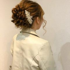 ヘアアレンジ アップスタイル 結婚式 フェミニン ヘアスタイルや髪型の写真・画像