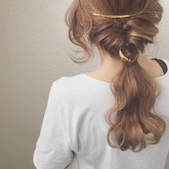 ヘアアレンジ 簡単ヘアアレンジ セミロング ポニーテール ヘアスタイルや髪型の写真・画像