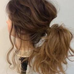 ゆるふわ ヘアアレンジ ゆるナチュラル セミロング ヘアスタイルや髪型の写真・画像